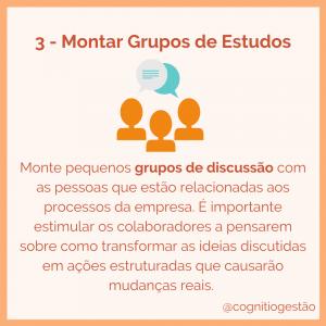 montar grupos de estudo para treinamento para startups