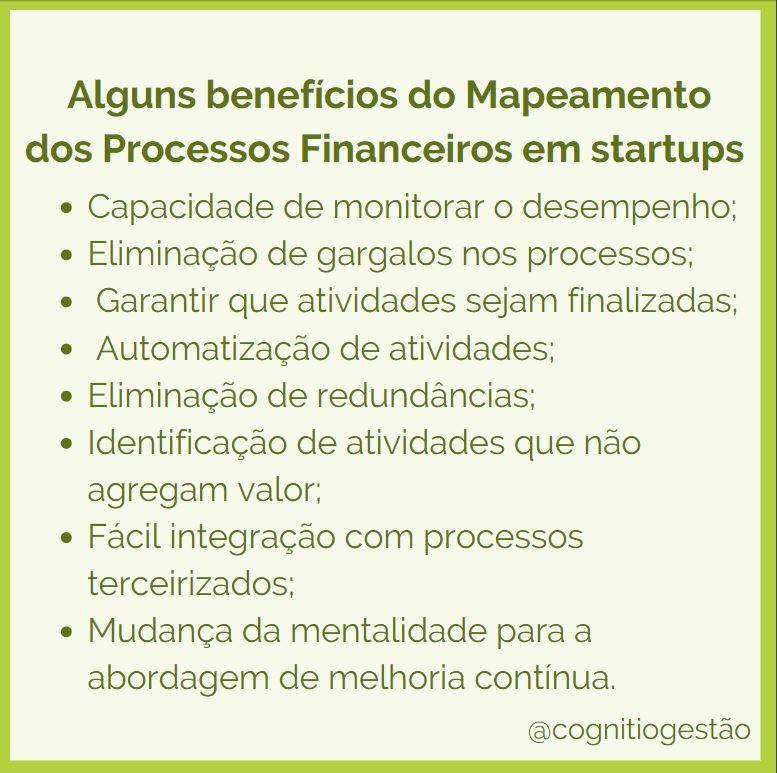 quais são os benefícios do mapeamento de processos financeiros para minha startup